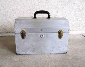 Vintage Handmade Aluminium Toolbox with Tray. Circa 1950's.