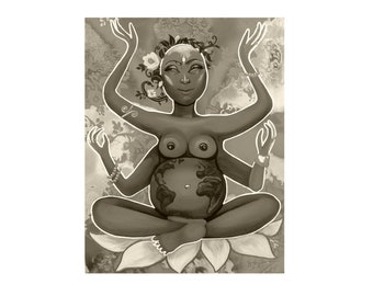 Gaia Mother Earth Art Print in Sepia