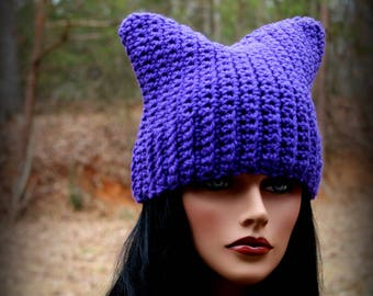 Purple Cat Hat, Purple Beanie, Womens Cat Hat, Cat Ears Hat, Cat Hat, Halloween Hat, Purple Hat, Chunky Hat, Cat Ears Beanie, Cat Beanie, Ca