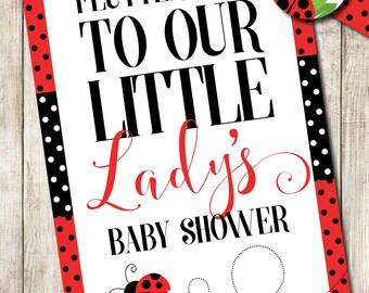 Little Lady Baby Shower Yard Sign, Ladybug Baby Shower Yard Sign, Ladybug Baby Shower Printables, Little Lady Printables, Ladybug Poster