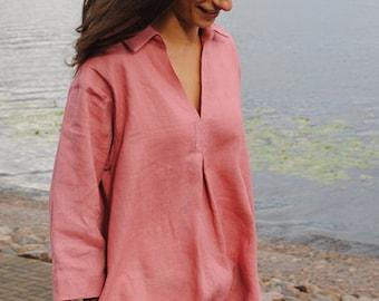 Pastel rose linen tunic, linen tunic with pockets, flax linen tunic, linen tunic dress, linen tunics for women, linen top for women