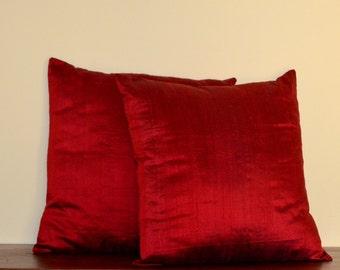 Solid dark red dupioni pure silk pillow cover / sham - 12X12, 12x16, 12x20, 14x20, 14x24, 16x16, 18x18, 20x20, 22x22, 24x24