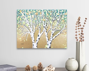 Original Birch Tree Painting, Birch Tree Art, Tree Art on Canvas Landscape Painting Wall Art