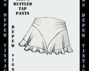 Vintage Sewing Pattern 1930's French Ruffled Tap Pants in Any Size- PLUS Size Included- Depew 166 -INSTANT DOWNLOAD-