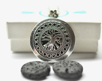 Tree of Life Lava Stone Diffuser Necklace - With Choice of Essential Oil