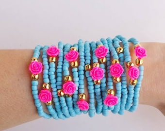 stacked bracelet - friendship bracelet - layered bracelets - stretch bracelets - Seedbead Braclet - pink roses - stack - festival jewelry