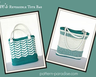 Crochet Pattern Tote Beach Bag, Reversible Market Bag, Eve PDF 17-306