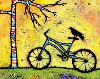 Bicycle Wall Art Print. Art for Kids Room. Bike and Raven Print. 8 x 8 Print. Childrens Room Art. Whimsical Art Print by Lindy Gaskill