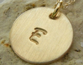 Gold Initial Necklace, Gold Letter Necklace, Initial Charm Necklace Gold Charm Necklace Stamped Letter Charm Necklace JULIETTE E Ria Designs