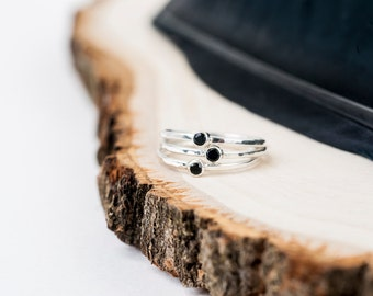 Silver Little Onyx Ring | Black Onyx Ring | Nature Inspired | Stacking Ring