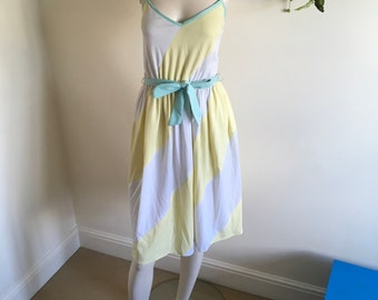 Vintage 80s Lemon Yellow Mint and White Summer Midi Dress