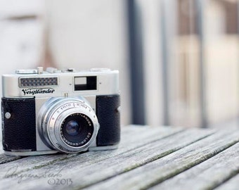 Vintage Camera photo Voigtlander photo minimalist picture 35mm film camera viewfinder antique camera photo still life gift under 50