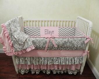 Custom Baby Girl Bedding Set Ellisyn - Girl Crib Bedding, Pink and Gray Crib Bedding, Ruffle Crib Bedding