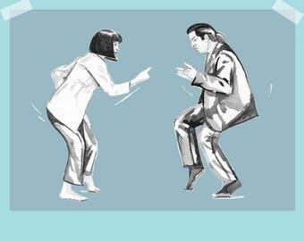 Pulp Fiction - Uma Thurman and John Travolta dancing A4 art print