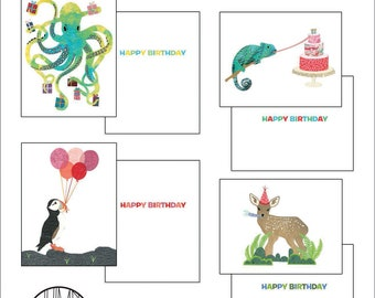 Birthday Cards-Set of 8-Octopus-Chameleon-Puffin-Deer-Fawn-Birthday Animals-Birthday Card Set-Birthday Cards-Birthday Party