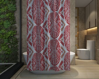 African Masks Shower Curtain - Red - Free Shipping