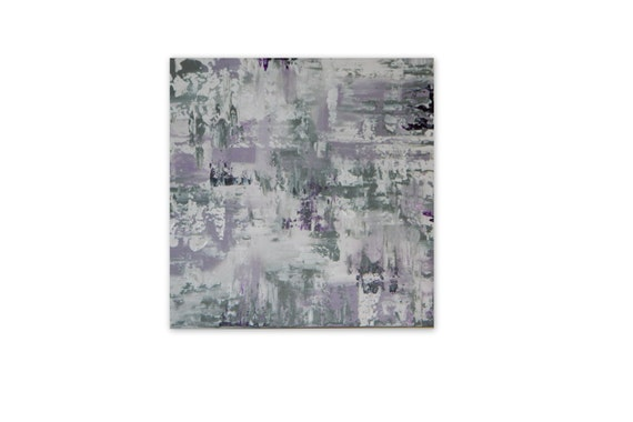 "24"" x 24"" Unstretched canvas painting Modern wall art abstract painting Marcy Chapman minimalism purple fuchsia lavender gray white"