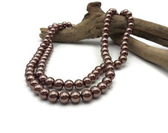 100 glass beads 8 mm - A164 bronze