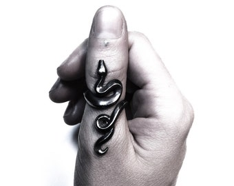Python ring in oxidized sterling silver (adjustable snake)
