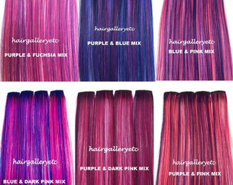 """12"""" Long Multi Color Clip-in 100% Human Hair Extensions 4 pcs USA Seller"""