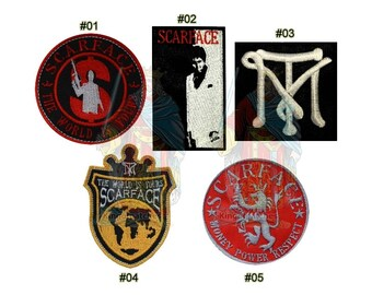 Scarface Embroidered Patches Al Pacino Movie Tony Montana The World is Yours Power Money Respect TM Logo