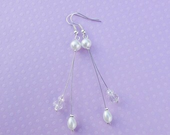 Pearl Earrings wedding earrings Bridal, white - ivory glass - crystal, 925 sterling silver