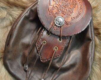 Clan MacKinnon Rob Roy style leather sporran bag