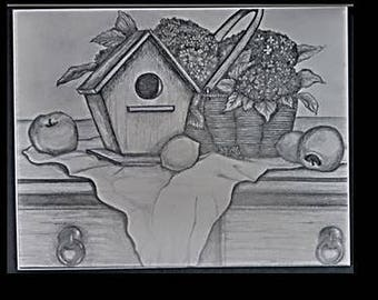 "original artwork, OOAK, graphite ""Birdhouse"""