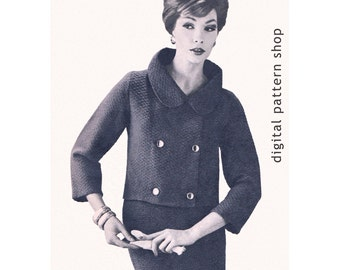 Womens Knitting Pattern 1960s Vintage Double Breasted Jacket & Skirt Knitting Pattern Jackie O Suit PDF Instant Download Size 12 to 18 - K22