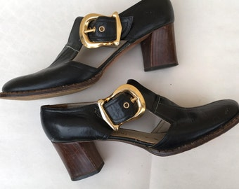 Vintage 1960's Italian Handmade Leather Shoes Gold Buckled Pilgrim Shoes Stacked Heels
