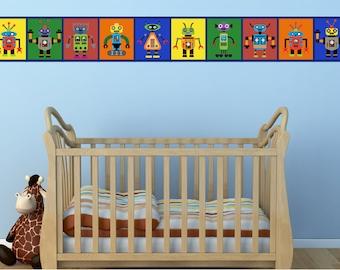 Robot Decal - Robot Print Decal -Kids Wall Art Decal- Kids Room Border - Boys Room Decal - Nursery Wall Decal - Nursery Border- Wall Decals