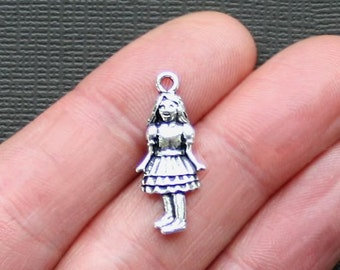6 Girl Charms Antique  Silver Tone 2 Sided - SC2374