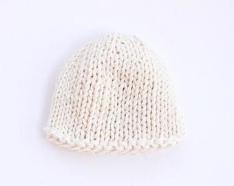 White knit baby hat, gender neutral baby, cotton baby hat, newborn hat, white, baby beanie, hospital hat, knitted baby hat, knit baby hat