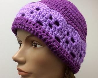 Lady's purple skull beanie, hand crochet, ski hat, gift idea, stocking stuffer, winter beanie, snow hat, handmade, ATV riding hat