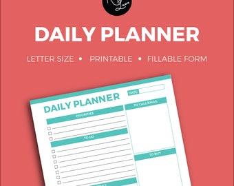 Daily Planner + Editable + Fillable + Printable + Household + Organization + Tracker + Notes + To Do + Checklist + Organize + School