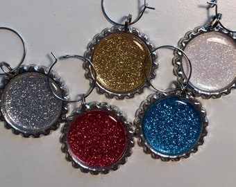 Blingy Glitter Sparkles Flattened Bottle Cap Wine Charms, Wine Accessories, Party Favors, Bunco Prize, Stocking Stuffers - Set of 5