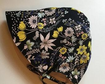 Black Floral bonnet