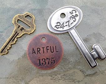 Artful Key Pendants - Copper, Silver, Bronze