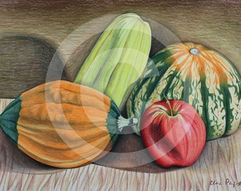 Autumn Still Life-Original Drawing