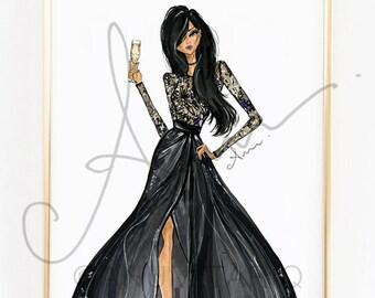 Fashion Illustration Print, Black Elie Saab