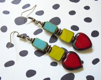 Teal Blue, Chartreuse Green, and Ruby Red Heart Earrings (3578)