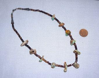 "Natural Turquoise Chunks & Heishi Shell Choker Necklace 16"""