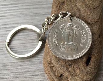40th birthday gift, 1978 coin keychain, India, Ashok-Stambh, Ashoka's Pillar, 40th anniversary present, travel, traveller, Asia gap year