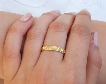 Gold Wedding Ring, Wedding Band Women, Unique Wedding Ring, 14k Gold Wedding Ring, Stack Wedding Band, Patterned Wedding Band,Moroccan Style