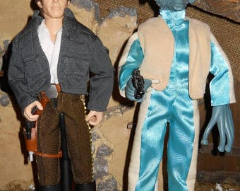 """12"""" 12 inch 1/6 Star Wars Cantina Scene - Han Solo and Greedo Bounty Hunter action figure LOT Loose"""