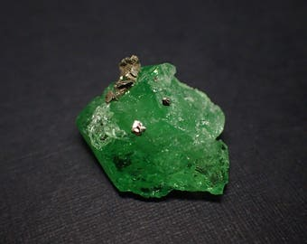 Take 10% OFF - Tsavorite Garnet crystal with Pyrite from Tanzania - 22ct / 22mm x 18mm x 10mm (B1851)