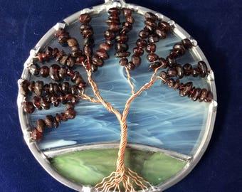 4 inch garnet tree of life suncatcher
