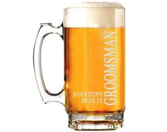 Groomsmen Gift - Groomsman Gift - Groomsmen Beer Mug - Personalized Beer Mug - Etched Beer Mug - Gift for Groomsmen - Gift for Groomsman
