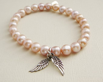 Pink Freshwater Pearl Bracelets sterling Angel Wings charm stacking friendship fashion jewelry Wedding Bridal