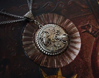 Steampunk Necklace - Silver - Insects - Bugs in the Machine - Round - Clockwork - Silver - Watch Movement - Watchwork - Scarabs - Pendant